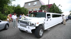 Hummer Limousine white. Armenian wedding. Stock Footage