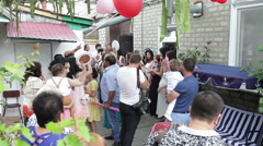 Armenian wedding. Guests danced the national dance. Stock Footage