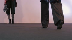 Fashion show. The legs models closeup Stock Footage