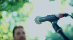 Close-up of a microphone the singer. Stand-up microphone. Sound Check Stock Footage
