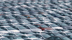 Storage Parking Lot of New Unsold Cars Stock Footage