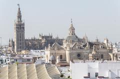 Collegiate Church of the Divine Savior, Seville Cathedral and Giralda, Sevill Stock Photos
