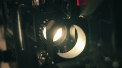 Old film projector 16 mm. Slow motion. Close up. Stock Footage