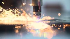 Plasma laser cutting metal sheet with sparks Stock Footage
