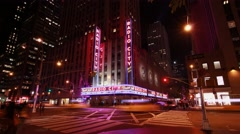 Night hyperlapse of the Radio City Music Hall  in New York Stock Footage