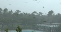 Debris Flies Through Air In Violent Hurricane Force Wind Stock Footage
