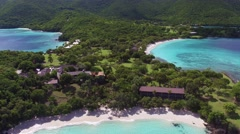 Aerial view of  turtle beach, Scott beach, Caneel Bay, St John Stock Footage