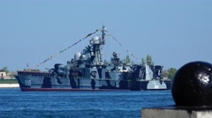 The warship of the Russian Navy is on duty. Sevastopol. Crimea. Stock Footage