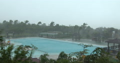 Violent Hurricane Eye Wall Wind And Rain Lashes Tropical Resort Stock Footage