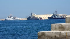 Three military ship waiting for a combat mission. Sevastopol Crimea. Stock Footage
