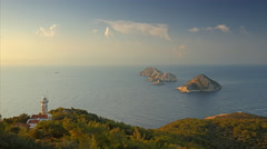 View from Lycian way to mediterranean sea, islands and light house. Time lapse Stock Footage