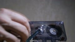 Audio cassette tape subtracted Stock Footage