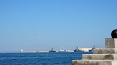 Guard Russian ships in the port of Sevastopol. Crimea. Overall plan. Stock Footage