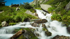Alpine Waterfall Time Lapse Stock Footage