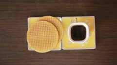 Waffle and coffee. wooden table Stock Footage