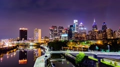 Philadelphia Skyline Night Timelapse 4K HD Stock Footage