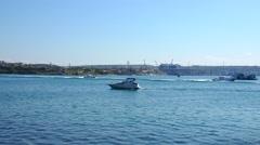 Yachts and boats Sevastopol bay. Crimea. Russian navy Stock Footage