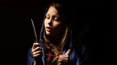 Criminal teen girl with baseball bat, young hooligan. 4K Stock Footage