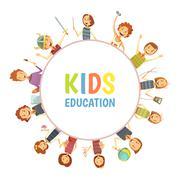 Kids Education Round Frame Cartoon Emblem Stock Illustration