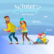 Family In Winter Season Illustration Stock Illustration