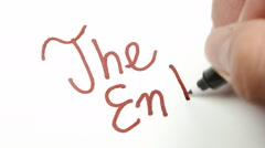 Writing macro the end slow Stock Footage