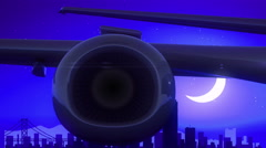 San Francisco California USA Airplane Take Off Moon Night Blue Skyline Travel Stock Footage