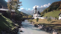 Ramsau Church (Bayern Deutschland, Bavaria Germany, Alps, Berchtesgaden) Stock Footage