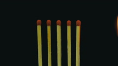 Burning Matches, Chain Reaction And Flame. Slow Motion Stock Footage
