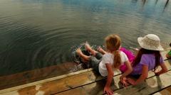 Two girls walk on Swamp Viru Raba in Estonia Stock Footage