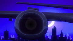 Tulsa Oklahoma USA America Airplane Take Off Moon Night Blue Skyline Travel Stock Footage
