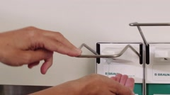 Desinfect hands (nurse, doctor) Stock Footage