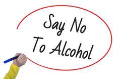 Women Hand writing say no to alkoholon white background. Business, technology Stock Illustration