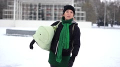Girl with baby in winter Stock Footage