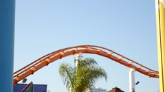 Close up of West Roller coaster at the Santa Monica pier Stock Footage