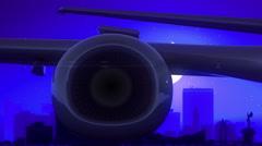 Wichita Kansas USA America Airplane Take Off Moon Night Blue Skyline Travel Stock Footage