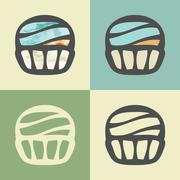 Vector outline cupcake icon with watercolor fill. Stock Illustration