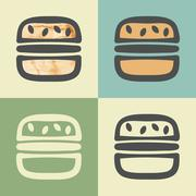 Vector outline burger icon with watercolor fill. Piirros