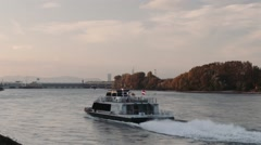 Danube Vienna Ship, Boat (Donau, Wien) Austria Stock Footage
