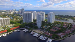 Aerial approach highrise condominiums Aventura FL Stock Footage