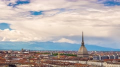 Timelapse video Torino (Turin, Italy) skyline with the Mole Antonelliana Stock Footage