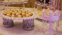 Dessert table for a wedding close up Stock Footage