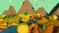 3d low poly autumn landscape Stock Footage