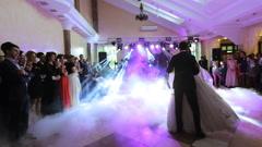 Amazing first wedding dance on heavy smoke Stock Footage