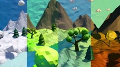 3d low poly landscape. Seasons change Stock Footage