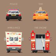 Police, Taxi, Ambulance car and Firetruck. Vector cartoon illustration Piirros