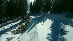 Skiing Track Drone View Stock Footage
