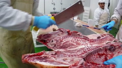 Group Of Butchers At Work Stock Footage