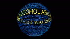 Alcohol abuse spinning sphere Stock Footage