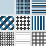 Seamless pattern with square navy blue tartan stripes and checker Stock Illustration