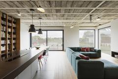 Modern luxury house interior Stock Photos